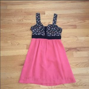 Coral black and floral tank dress